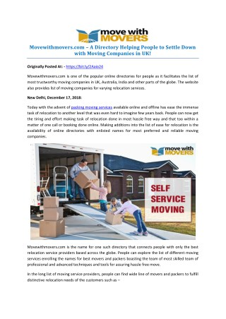 Movewithmovers.com – A Directory Helping People to Settle Down with Moving Companies in UK!