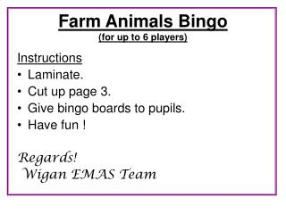 Farm Animals Bingo (for up to 6 players)
