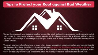 Tips to Protect your Roof against Bad Weather