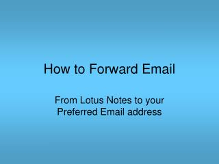 How to Forward Email