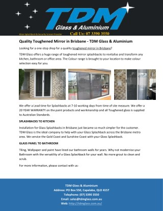 Quality Toughened Mirror in Brisbane - TDM Glass & Aluminium