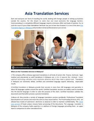 Professional Translation Specializations in Kuala Lumpur