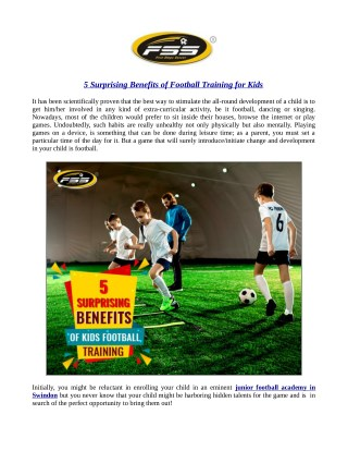 5 Surprising Benefits of Football Training for Kids