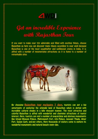 Get an incredible Experience with Rajasthan Tour