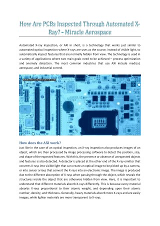 How Are PCBs Inspected Through Automated X-Ray? - Miracle Aerospace