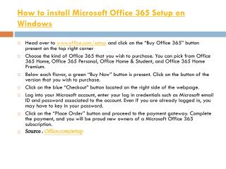 How to install Microsoft Office 365 Setup on Windows