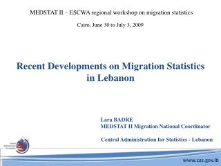 Recent Developments on Migration Statistics in Lebanon