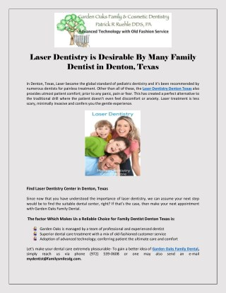 Laser Dentistry is Desirable By Many Family Dentist in Denton, Texas