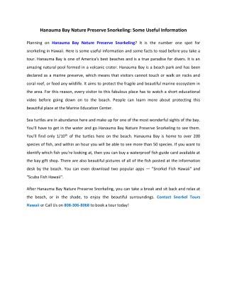 Hanauma Bay Nature Preserve Snorkeling: Some Useful Information