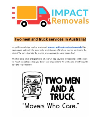 office removalists perth | two men and a truck australia