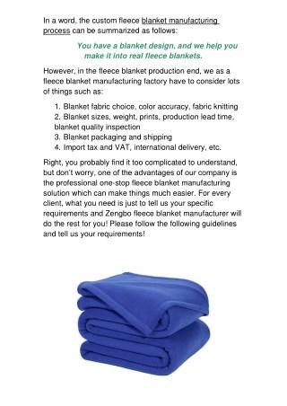 How Does Custom Fleece Blankets Manufacturing Work?