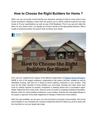 How to Choose the Right Builders for Home ?