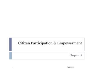 Citizen Participation & Empowerment
