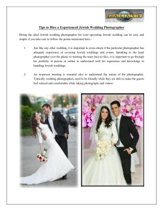 Tips to Hire a Experienced Jewish Wedding Photographer