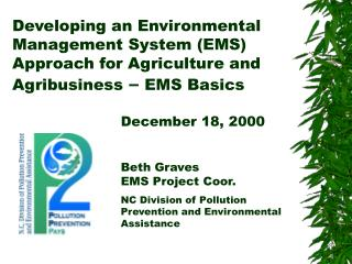 Developing an Environmental Management System EMS Approach for Agriculture and Agribusiness   EMS Basics