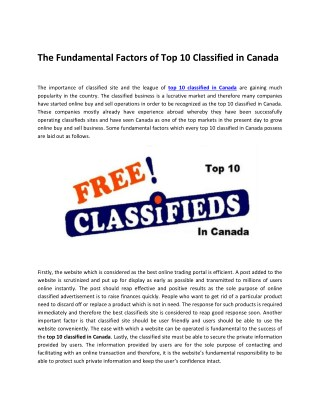 The Fundamental Factors of Top 10 Classified in Canada