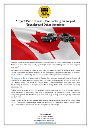 Airport Taxi Toronto – Pre-Booking for Airport Transfer and Other Occasions