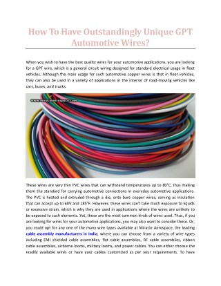 How To Have Outstandingly Unique GPT Automotive Wires - Miracle Aerospace