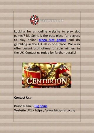 Bingo Slot Games   Big Spins