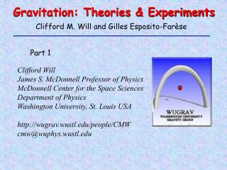 Gravitation: Theories & Experiments