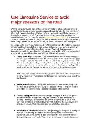 Use Limousine Service to avoid major stressors on the road