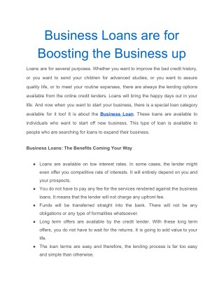 Business Loans are for Boosting the Business up