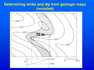 Determining strike and dip from geologic maps revisited