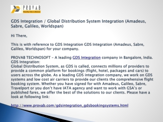 GDS Integration / Global Distribution System Integration