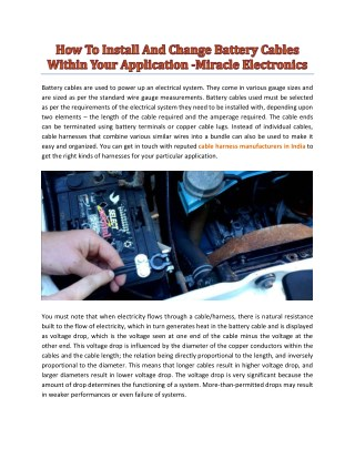 How To Install And Change Battery Cables Within Your Application -Miracle Electronics