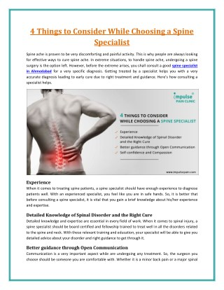 Consult Specialist Back Pain Doctor for Right Cure
