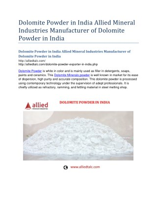 Dolomite Powder in India Allied Mineral Industries Manufacturer of Dolomite Powder in India