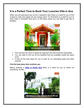 It is a Perfect Time to Book Your Luxuries Villa in Goa