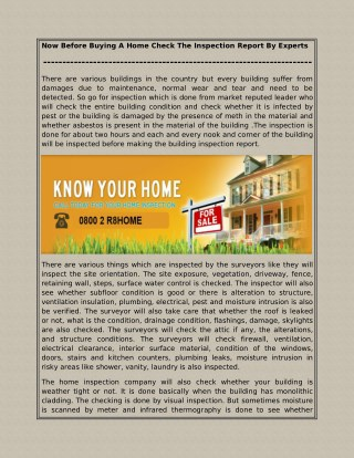 Now Before Buying A Home Check The Inspection Report By Experts