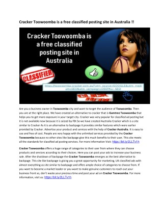 Cracker Toowoomba is a free classified posting site in Australia !!