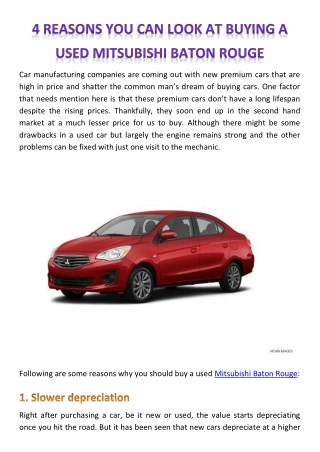 4 REASONS YOU CAN LOOK AT BUYING A USED MITSUBISHI BATON ROUGE