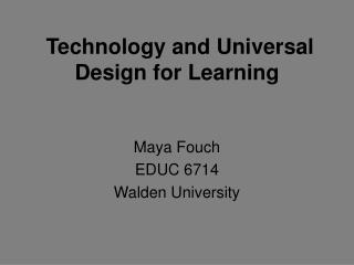 Technology and Universal Design for Learning
