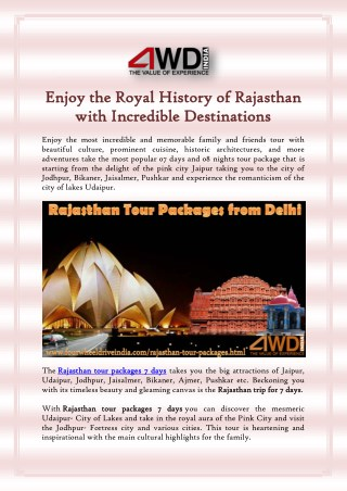 Enjoy the Royal History of Rajasthan with Incredible Destinations