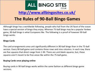 The Rules of 90-Ball Bingo Games