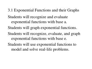 3.1 Exponential Functions and their Graphs