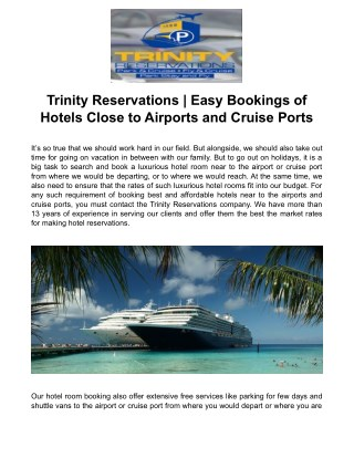 Trinity Reservations | Easy Bookings of Hotels Close to Airports and Cruise Ports