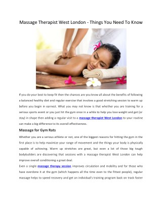 Massage Therapist West London - Things You Need To Know