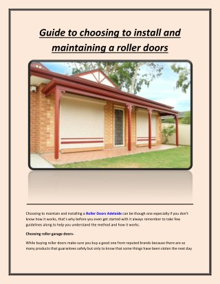 Guide to choosing to install and maintaining a roller doors