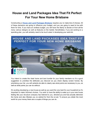 House and Land Packages Idea That Fit Perfect For Your New Home Brisbane