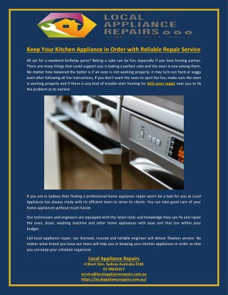 Keep Your Kitchen Appliance in Order with Reliable Repair Service