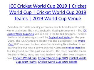 ICC Cricket World Cup 2019 | Cricket World Cup | Cricket World Cup 2019 Teams | 2019 World Cup Venue