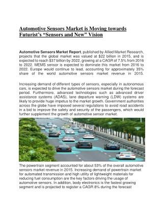 Automotive sensors market : Global Analysis and Growth