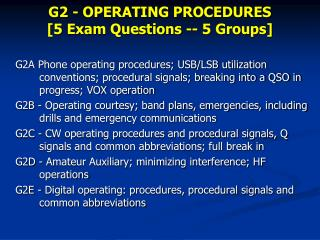 G2 - OPERATING PROCEDURES [5 Exam Questions -- 5 Groups]