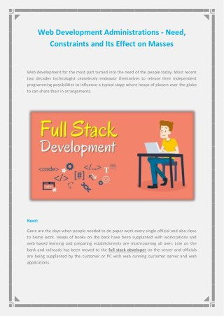 Web Development Administrations - Need, Constraints and Its Effect on Masses