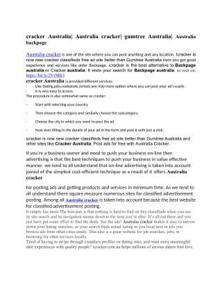 cracker Australia| Australia cracker| gumtree Australia| Australia backpage