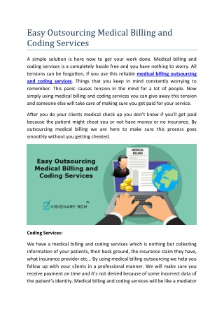 Easy Outsourcing Medical Billing and Coding Services